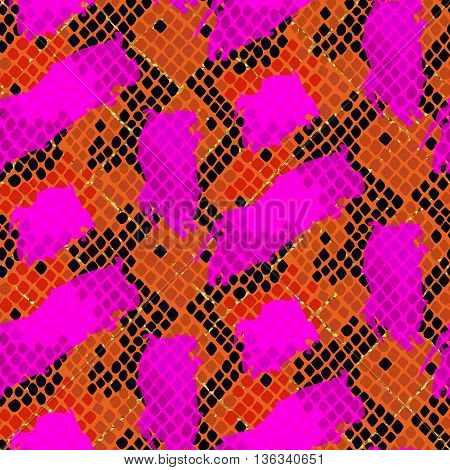 Snake skin red seamless vector texture. Red and pink tone colors snake pattern ornament for textile fabric. Artificial reptile leather pattern with brush strokes and gold details.
