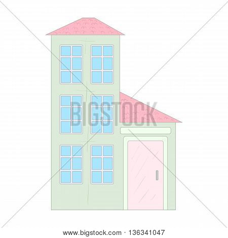Three storey house icon in cartoon style on a white background