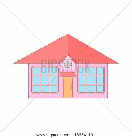 Pink cottage with big windows icon in cartoon style on a white background