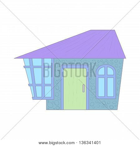 Blue cottage icon in cartoon style on a white background
