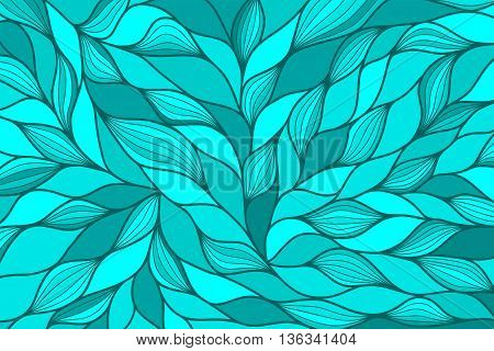 Modern abstract horizontal background with hand drawn waves. Blue, azure, cerulean, aquamarine, turquoise, cyan wallpaper. Wavy background. Ocean motif. Hand drawn pattern. Vector illustration.