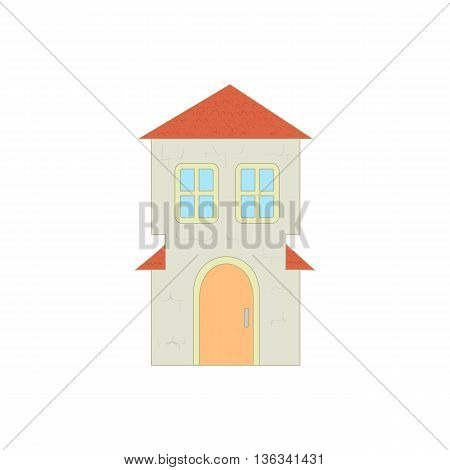Cottage with an arched door and red roof icon in cartoon style on a white background