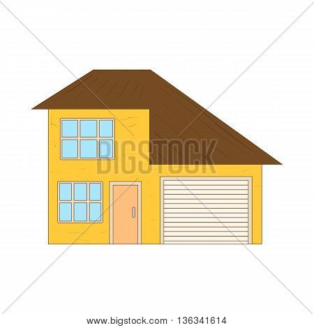 Yellow two storey house with garage icon in cartoon style on a white background