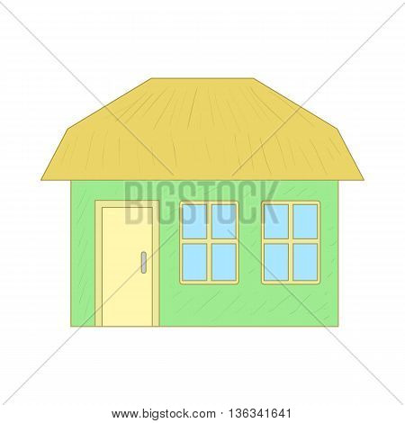 Green cottage icon in cartoon style on a white background