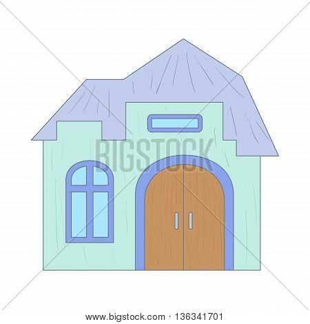 Light blue cottage with an arched door icon in cartoon style on a white background