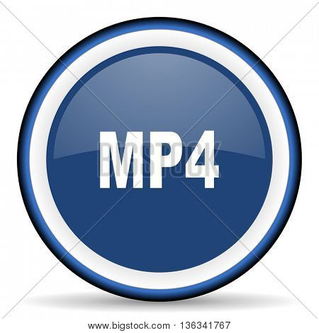 mp4 round glossy icon, modern design web element