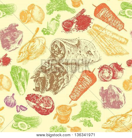 Vector illustration of shawarma ingredients with beef in seamless background. Hand drawn colorful illustration on white background