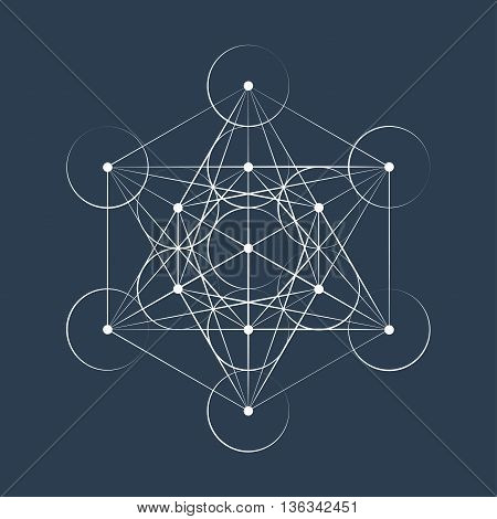 Metatrons Cube sacred geometry vector illustration on color background