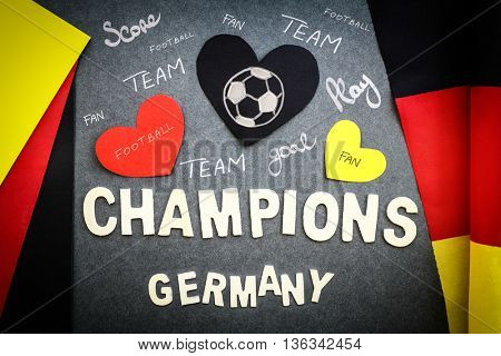 Fan's wall for German football team, football championship, victory of German team, abstract sport background