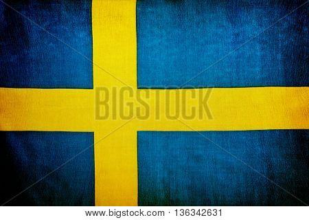 Swedish flag, national symbol, abstract grunge background, patriotic wallpaper
