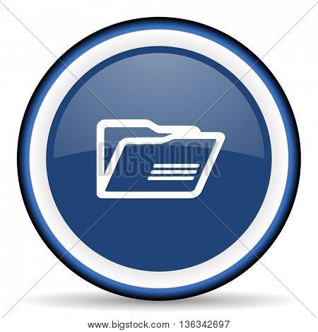 folder round glossy icon, modern design web element