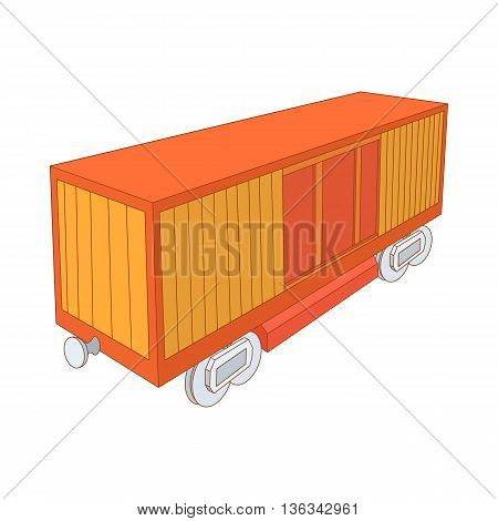 Railway cargo container icon in cartoon style on a white background