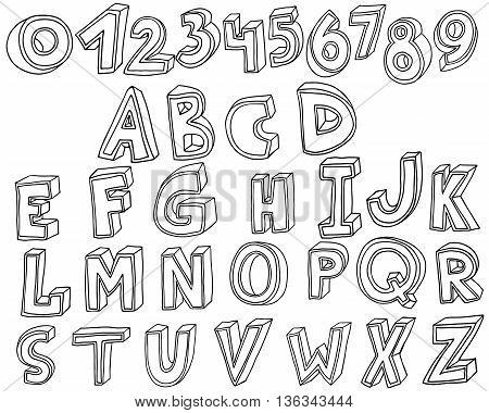 Handwritten display font in 3d style Vector illustration isolated on white background. Black and white vector letters