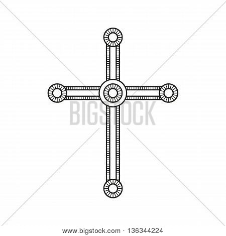 Symbol of a church cross. Christianity religion symbol. Line style