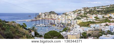 Ponza town panoramic view from a hill above.