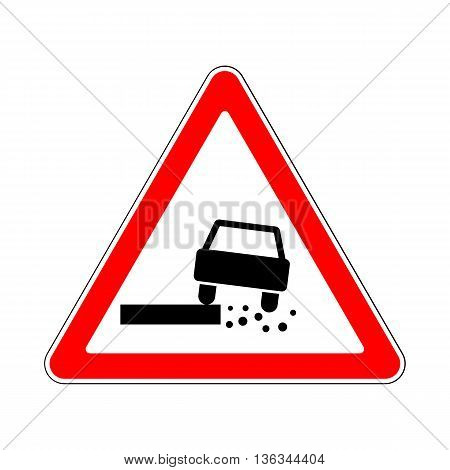 Traffic-Road Sign: Dangerous Roadside on White Background