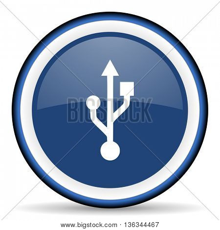 usb round glossy icon, modern design web element