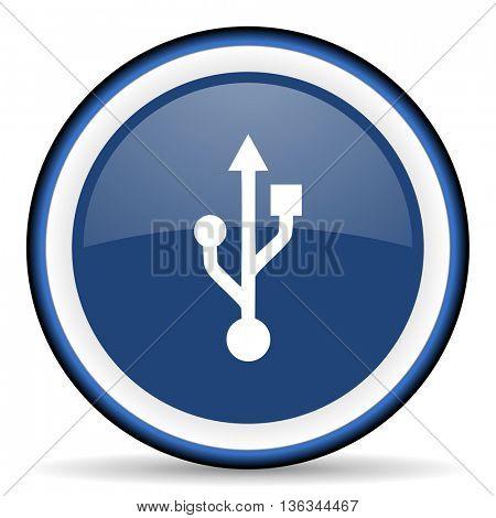 usb round glossy icon, modern design web element