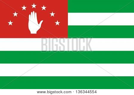 Flag of Abkhazia. National symbol. Vector illustration