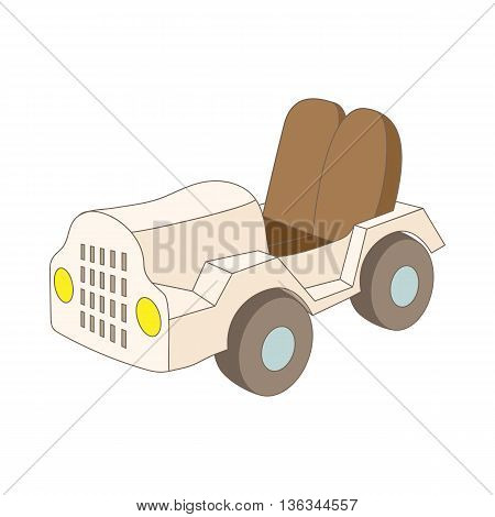 Car at the airoport icon in cartoon style on a white background