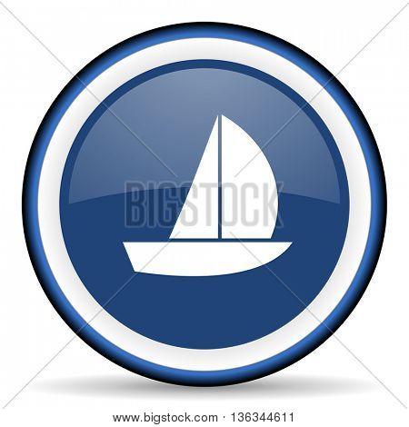 yacht round glossy icon, modern design web element