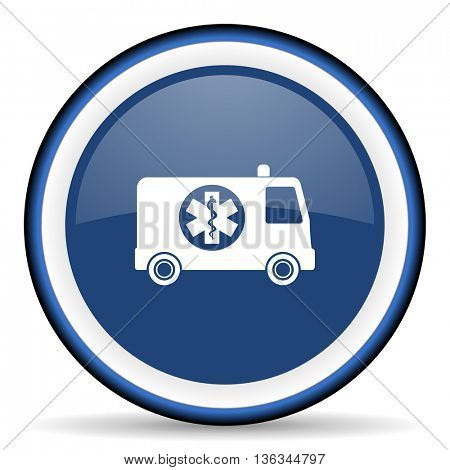 ambulance round glossy icon, modern design web element