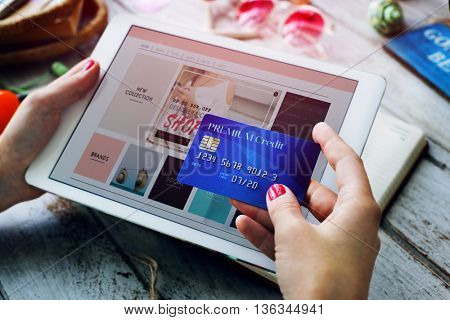 Lady Fashion Credit Card Payment Concept