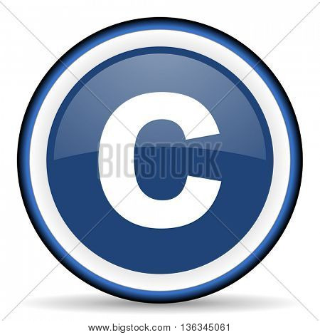 copyright round glossy icon, modern design web element