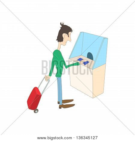 Man buys a ticket in the ticket office icon in cartoon style on a white background