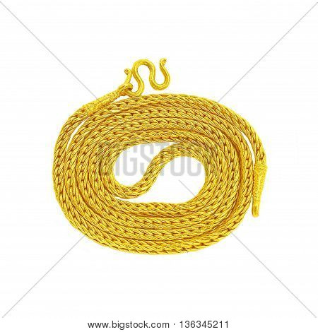 Gold Chain Jewelry. Isolated on White Background.