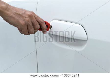 open car door with key. car, door, key,