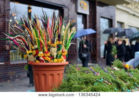 VILNIUS LITHUANIA - MARCH 29: Traditional lithuanian palm bouquets on Palm Sunday fair on March 29 2015 in Vilnius Lithuania.