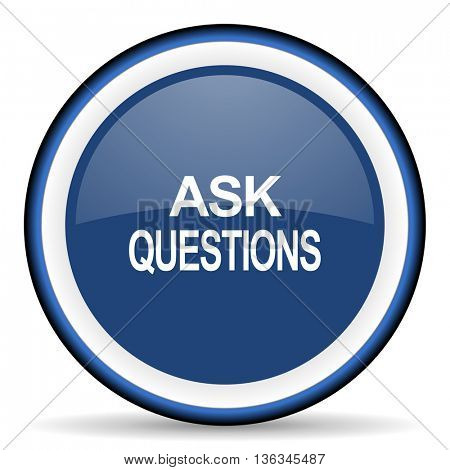 ask questions round glossy icon, modern design web element