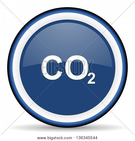 carbon dioxide round glossy icon, modern design web element