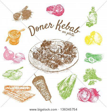 Vector illustration of doner kebab ingredients. Hand drawn colorful illustration on white background