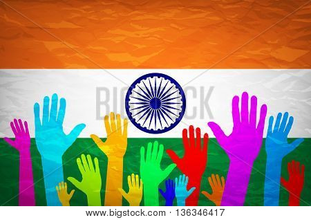 Illustration Of Hand With Voting Sign Of India Vector