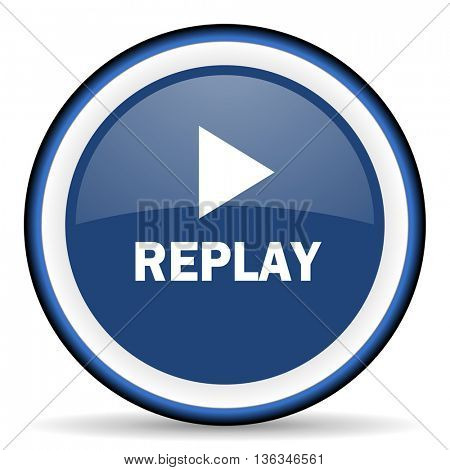 replay round glossy icon, modern design web element