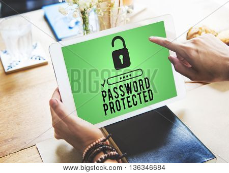 Password Protected Privacy Policy Private Security Concept