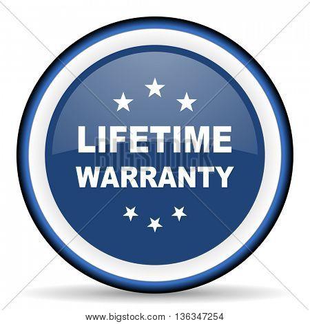 lifetime warranty round glossy icon, modern design web element