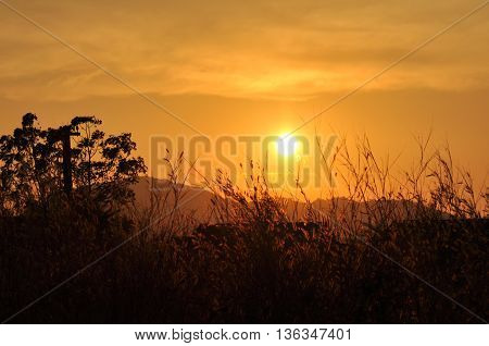 the sunrise and mountain in the moring