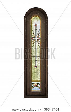 Stained Glass Window isolated on a white background.