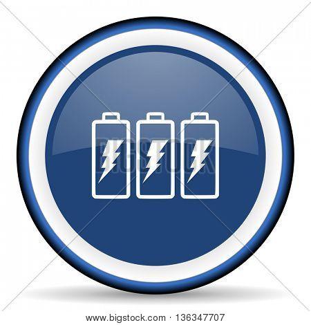 battery round glossy icon, modern design web element