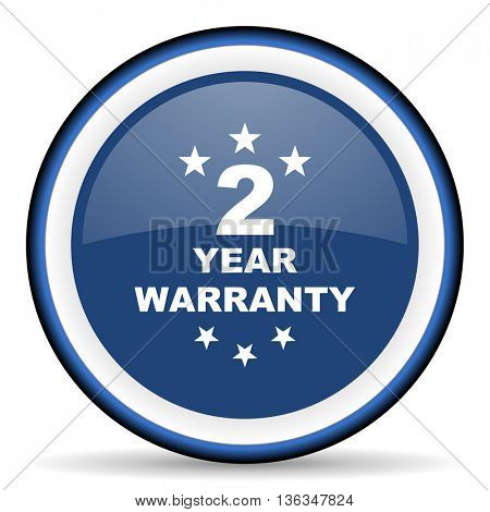 warranty guarantee 2 year round glossy icon, modern design web element