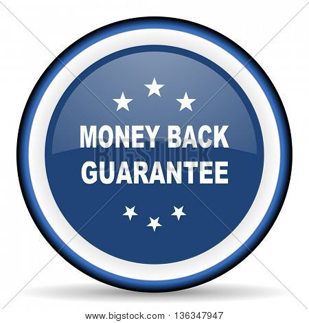 money back guarantee round glossy icon, modern design web element