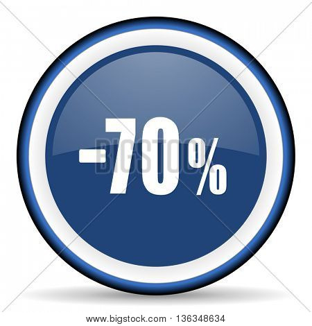 70 percent sale retail round glossy icon, modern design web element