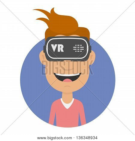 Joyful and happy man in virtual reality headset. Gaming Cyber technologies. Glasses VR flat icon. VR technology. Cartoon virtual reality concept