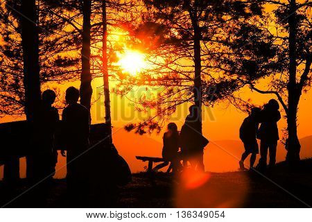 sunrise and mountain in the moring silhouette people