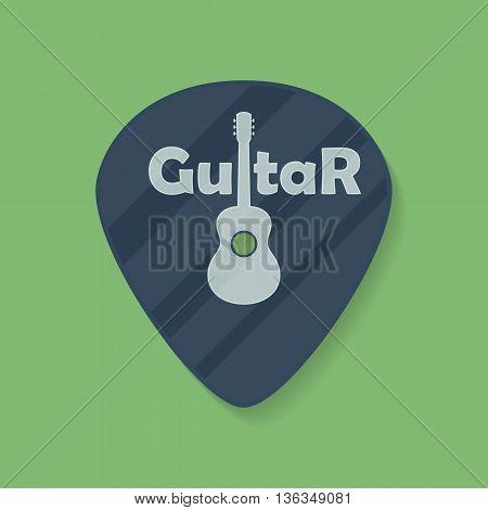 Guitar plectrum icon with the word Guitar and the Guitar symbol sign logo