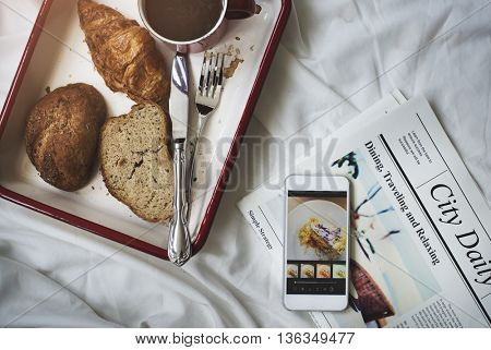 Bread Croissant Coffee Newspaper Leisure Chill Concept