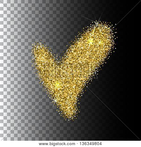 Check-mark icon, vector isolated gold glittering on transparent background. EPS